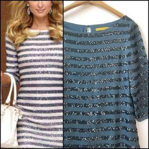 ALICE & OLIVIA Silk Sequin Striped Dress!
